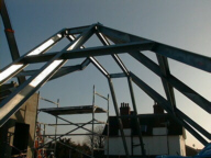 Steel-framed roof under construction